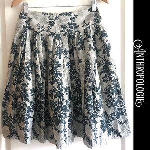 ANTHROPOLOGIE Odille blue floral full skirt